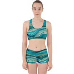 Mint,gold,marble,nature,stone,pattern,modern,chic,elegant,beautiful,trendy Work It Out Sports Bra Set