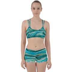 Mint,gold,marble,nature,stone,pattern,modern,chic,elegant,beautiful,trendy Women s Sports Set