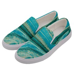 Mint,gold,marble,nature,stone,pattern,modern,chic,elegant,beautiful,trendy Men s Canvas Slip Ons