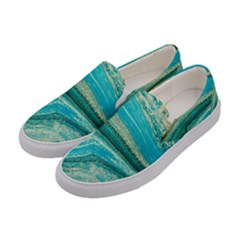 Mint,gold,marble,nature,stone,pattern,modern,chic,elegant,beautiful,trendy Women s Canvas Slip Ons