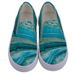 Mint,gold,marble,nature,stone,pattern,modern,chic,elegant,beautiful,trendy Kids  Canvas Slip Ons