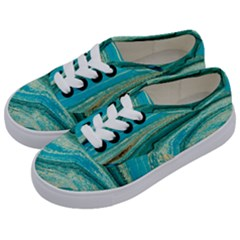 Mint,gold,marble,nature,stone,pattern,modern,chic,elegant,beautiful,trendy Kids  Classic Low Top Sneakers