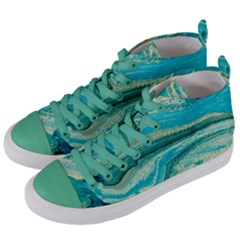 Mint,gold,marble,nature,stone,pattern,modern,chic,elegant,beautiful,trendy Women s Mid-Top Canvas Sneakers