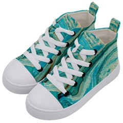 Mint,gold,marble,nature,stone,pattern,modern,chic,elegant,beautiful,trendy Kid s Mid-Top Canvas Sneakers