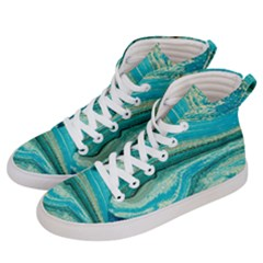 Mint,gold,marble,nature,stone,pattern,modern,chic,elegant,beautiful,trendy Women s Hi-Top Skate Sneakers