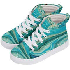 Mint,gold,marble,nature,stone,pattern,modern,chic,elegant,beautiful,trendy Kid s Hi-Top Skate Sneakers