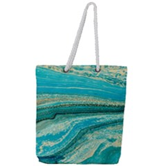 Mint,gold,marble,nature,stone,pattern,modern,chic,elegant,beautiful,trendy Full Print Rope Handle Tote (Large)