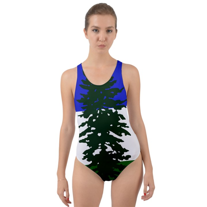 Flag of Cascadia Cut-Out Back One Piece Swimsuit