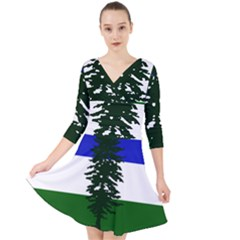 Flag Of Cascadia Quarter Sleeve Front Wrap Dress	 by abbeyz71