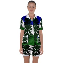 Flag Of Cascadia Satin Short Sleeve Pyjamas Set