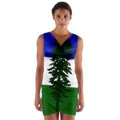 Flag Of Cascadia Wrap Front Bodycon Dress