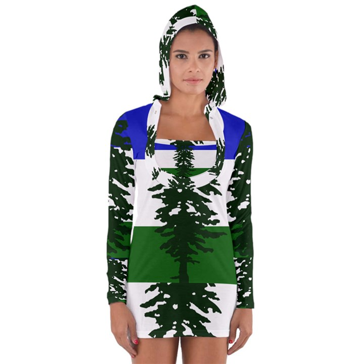Flag of Cascadia Long Sleeve Hooded T-shirt