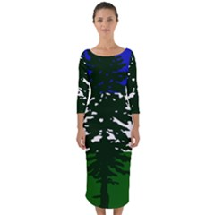 Flag Of Cascadia Quarter Sleeve Midi Bodycon Dress