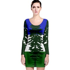 Flag Of Cascadia Long Sleeve Bodycon Dress