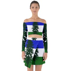Flag Of Cascadia Off Shoulder Top With Skirt Set