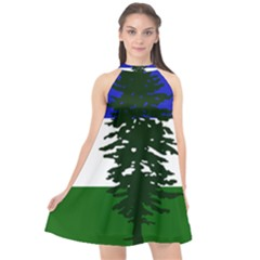 Flag Of Cascadia Halter Neckline Chiffon Dress