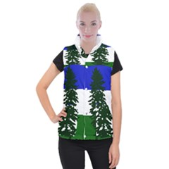 Flag Of Cascadia Women s Button Up Puffer Vest by abbeyz71
