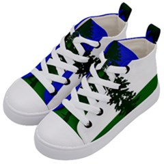 Flag Of Cascadia Kid s Mid Top Canvas Sneakers by abbeyz71