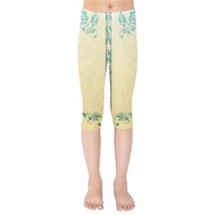 Art Nouveau Green Kids  Capri Leggings  by 8fugoso
