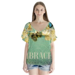 Embrace Shabby Chic Collage V Neck Flutter Sleeve Top by 8fugoso