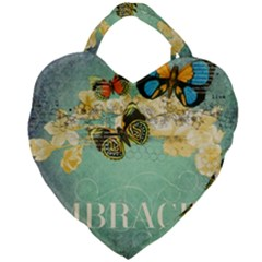 Embrace Shabby Chic Collage Giant Heart Shaped Tote by 8fugoso