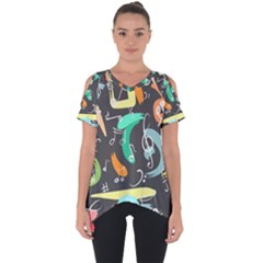 Repetition Seamless Child Sketch Cut Out Side Drop Tee