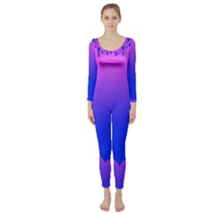 Abstract Bright Color Long Sleeve Catsuit