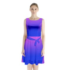 Abstract Bright Color Sleeveless Waist Tie Chiffon Dress