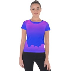 Abstract Bright Color Short Sleeve Sports Top