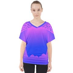 Abstract Bright Color V Neck Dolman Drape Top