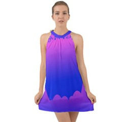 Abstract Bright Color Halter Tie Back Chiffon Dress by Nexatart