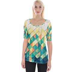 Background Geometric Triangle Wide Neckline Tee