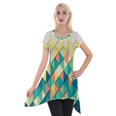 Background Geometric Triangle Short Sleeve Side Drop Tunic