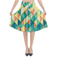 Background Geometric Triangle Flared Midi Skirt
