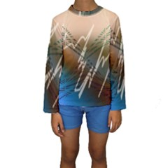 Pop Art Edit Artistic Wallpaper Kids  Long Sleeve Swimwear