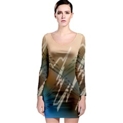Pop Art Edit Artistic Wallpaper Long Sleeve Bodycon Dress