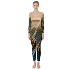 Pop Art Edit Artistic Wallpaper Long Sleeve Catsuit