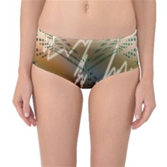 Pop Art Edit Artistic Wallpaper Mid-Waist Bikini Bottoms