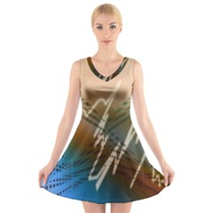 Pop Art Edit Artistic Wallpaper V-Neck Sleeveless Skater Dress