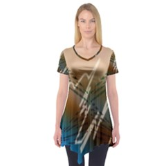Pop Art Edit Artistic Wallpaper Short Sleeve Tunic