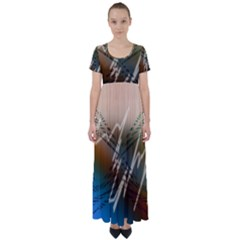 Pop Art Edit Artistic Wallpaper High Waist Short Sleeve Maxi Dress