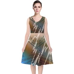 Pop Art Edit Artistic Wallpaper V Neck Midi Sleeveless Dress