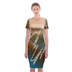 Pop Art Edit Artistic Wallpaper Classic Short Sleeve Midi Dress