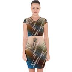 Pop Art Edit Artistic Wallpaper Capsleeve Drawstring Dress