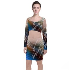 Pop Art Edit Artistic Wallpaper Long Sleeve Crop Top & Bodycon Skirt Set