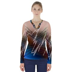 Pop Art Edit Artistic Wallpaper V-Neck Long Sleeve Top