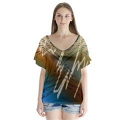 Pop Art Edit Artistic Wallpaper V-Neck Flutter Sleeve Top