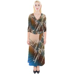 Pop Art Edit Artistic Wallpaper Quarter Sleeve Wrap Maxi Dress