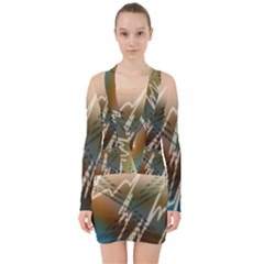 Pop Art Edit Artistic Wallpaper V-neck Bodycon Long Sleeve Dress