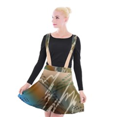 Pop Art Edit Artistic Wallpaper Suspender Skater Skirt